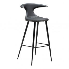 Čierna barová stolička s koženým sedadlom DAN-FORM Denmark Flair