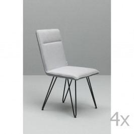 Sada 4 bielych jedálenských stoličiek s čiernou podnožou Design Twist Elice