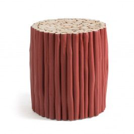 Vínovočervený taburet z teakového dreva La Forma Filippo