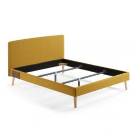 Žltá dvojlôžková posteľ La Forma Lydia, 200×160cm
