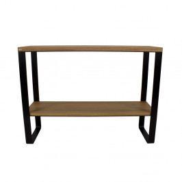 Čierny konzolový stolík s doskou z dubového dreva Take Me HOME Linea, 100×30cm