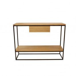 Čierny konzolový stolík s doskou z dubového dreva Take Me HOME Lubin, 100×30cm