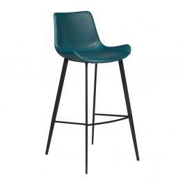 Petrolejovomodrá koženková barová stolička DAN-FORM Denmark Hype