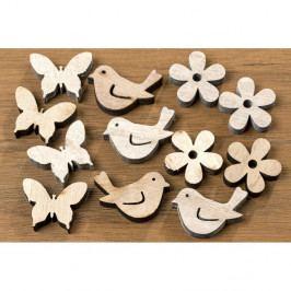 Sada 36 drevených dekorácií v tvare vtáčikov a motýľov Boltz