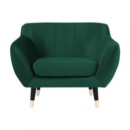 Zelené kreslo s čiernymi nohami Mazzini Sofas Benito