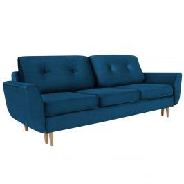 Modrá rozkladacia trojmiestna pohovka s úložným priestorom Mazzini Sofas Silva