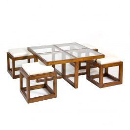 Set konferenčného stolíka so 4 stoličkami z dreva mindi Santiago Pons Abirad