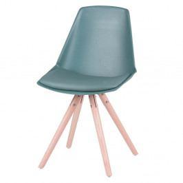 Sada 4 modrozelených stoličiek s nohami z bukového dreva sømcasa Bella