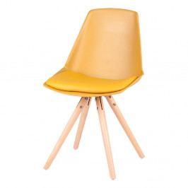 Sada 4 žltých stoličiek s nohami z bukového dreva sømcasa Bella