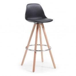 Čierna barová stolička s drevenou podnožou La Forma Stag