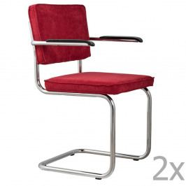 Sada 2 červených stoličiek s opierkami Zuiver Ridge Rib