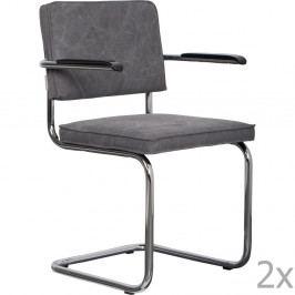 Sada 2 sivých stoličiek s opierkami Zuiver Ridge Rib