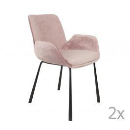 Sada 2 ružových stoličiek s opierkami Zuiver Brit