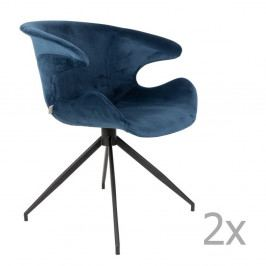 Sada 2 modrých stoličiek s opierkami Zuiver Mia