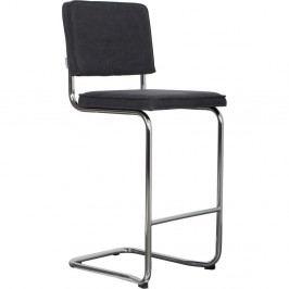 Antracitovosivá barová stolička Zuiver Ridge Kink Vintage