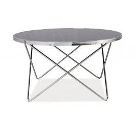Konferenčný stolík so sklenenou doskou a chrómovou konštrukciou Signal Fabia, ⌀85cm