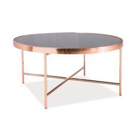 Konferenčný stolík so sklenenou doskou a kovovou konštrukciou vo farbe medi Signal Gina, ⌀82cm