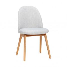 Svetlosivá jedálenská stolička s nohami z dubového dreva Hübsch Gisla