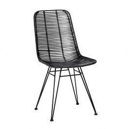 Čierna ratanová stolička Hübsch Bergitte