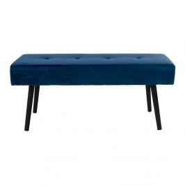 Tmavomodrá čalúnená lavica so zamatovým poťahom House Nordic Skiby, 100×35 cm