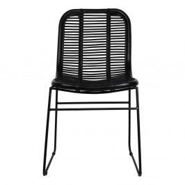 Čierna jedálenská stolička z ratanu HSM collection