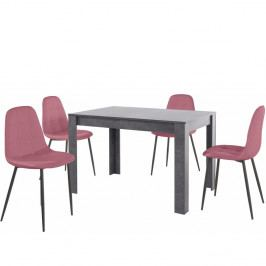 Set sivého jedálenského stola a 4 ružových jedálenských stoličiek Støraa Lori Lamar