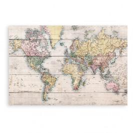 Drevená ceduľa Really Nice Things Worldmap, 60×40 cm