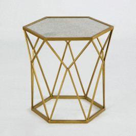 Kovový príručný stolík v zlatej farbe Thai Natura Lanna