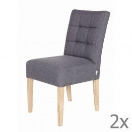 Sada 2 sivých drevených stoličiek De Eekhoorn Tijmen