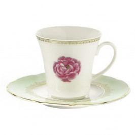 Sada 6 porcelánových šálok s tanierikom Kutahya Roses, 50 ml