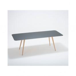 Jedálenský stôl z masívneho dubového dreva s čiernou doskou Gazzda Linn, 220×90cm