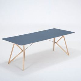Jedálenský stôl z masívneho dubového dreva s tmavomodrou doskou Gazzda Tink, 220×90cm