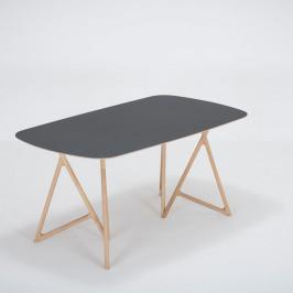 Jedálenský stôl z masívneho dubového dreva s čiernou doskou Gazzda Koza, 160×90cm