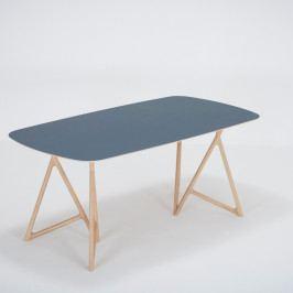 Jedálenský stôl z masívneho dubového dreva s tmavomodrou doskou Gazzda Koza, 180×90cm