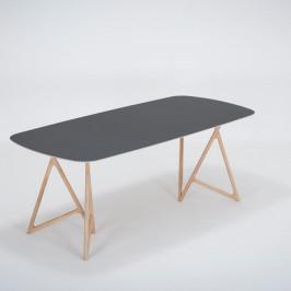 Jedálenský stôl z masívneho dubového dreva s čiernou doskou Gazzda Koza, 200×90cm