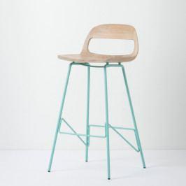Barová stolička so sedadlom z masívneho dubového dreva a zelenými nohami Gazzda Leina, výška 94cm