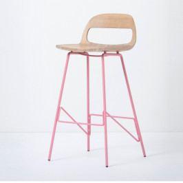 Barová stolička so sedadlom z masívneho dubového dreva a ružovými nohami Gazzda Leina, výška 94cm