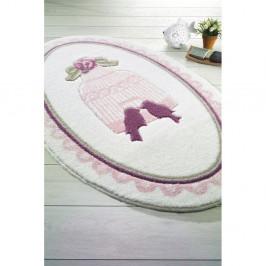 Ružovo-biela predložka do kúpeľne Confetti Bathmats Birdcage, 80×130cm