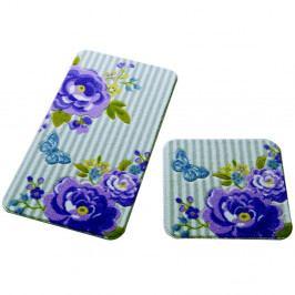 Sada 2 kúpeľňových predložiek Confetti Bathmats Roses Purple