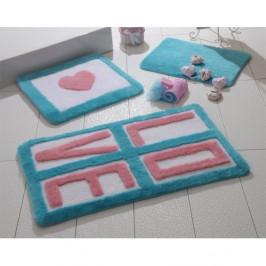 Sada 3 kúpeľňových predložiek Alessia Love Turquoise