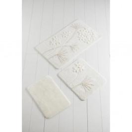 Sada 3 bielych podložiek do kúpeľne Flowers