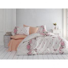Bavlnené obliečky s plachtou v lososovej farbe Juliet, 200 x 220 cm