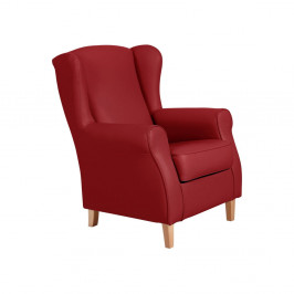 Červené kreslo ušiak Max Winzer Lorris Leather Chili