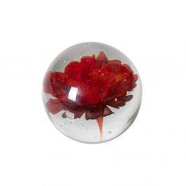 Sklenené ťažítko s červenou kvetinou De Eekhoorn Botanics