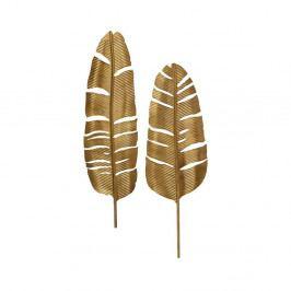 Sada 2 dekoratívnych kovových pier v mosadznej farbe De Eekhoorn