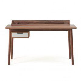 Pracovný stôl z orechového dreva so sivou zásuvkou HARTÔ Honoré, 140×70cm