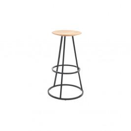 Barová stolička s dubovou doskou a sivou kovovou konštrukciou HARTÔ Gustave, výška 65cm