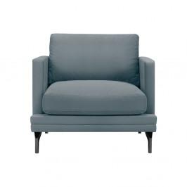Sivé kreslo s podnožou v čiernej farbe Windsor & C Sofas Jupiter