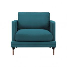 Tyrkysové kreslo s podnožou v medenohnedej farbe Windsor & Co Sofas Jupiter