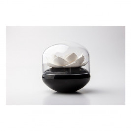 Čierno-biely stojan na vatové tyčinky Qualy Lotus Cotton Bud